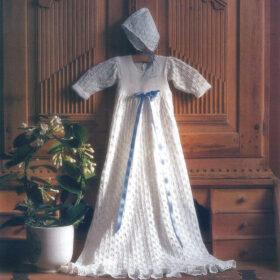 Strikket dåpskjole med lue - Si 0394
